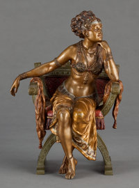 A FRANZ XAVIER BERGMAN EROTIC COLD-PAINTED FIGURAL BRONZE: SEATED DANCER Vienna, Austria, c