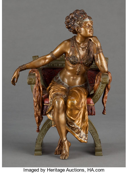 A FRANZ XAVIER BERGMAN EROTIC COLD-PAINTED FIGURAL BRONZE: SEATED DANCER  Vienna, Austria, circa 1900  Marks: (amp...