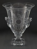 Art Glass:Steuben, A STEUBEN CUT AND ENGRAVED GLASS VASE DESIGNED BY FREDERICK CARDER:STRAWBERRY MANSION . Circa 1932. Marks: Steub...
