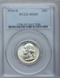 Washington Quarters: , 1934-D 25C Medium Motto MS65 PCGS. PCGS Population (235/69). NGCCensus: (136/42). Mintage: 3,527,200. Numismedia Wsl. Pric...