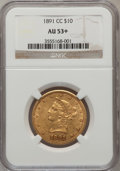 Liberty Eagles, 1891-CC $10 AU53+ NGC. NGC Census: (74/1994). PCGS Population (105/1579). Mintage: 103,732. Numismedia Wsl. Price for probl...