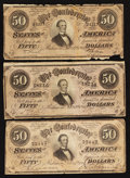 Confederate Notes:1864 Issues, T66 $50 1864.. ... (Total: 3 notes)