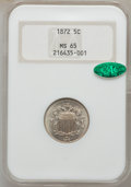 Shield Nickels, 1872 5C MS65 NGC. CAC....