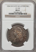 Bust Half Dollars, 1834 50C Small Date, Small Letters MS61 NGC. O-120, R.4....