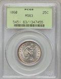 Seated Quarters, 1860 25C MS63 PCGS....