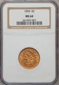 Liberty Half Eagles: , 1894 $5 MS64 NGC. NGC Census: (98/15). PCGS Population (35/2).Mintage: 957,800. Numismedia Wsl. Price for problem free NGC...