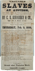 Political:Small Paper (pre-1896), New Orleans Slave Auction Broadside: Interesting Scrapbook....