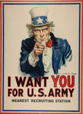 Military & Patriotic:WWI, World War I Uncle Sam Patriotic Poster by James Montgomery Flagg, 1917....