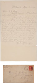 Autographs:Celebrities, Cole Younger: Fine Handwritten Pencil Letter with Large, Bold Signature.... (Total: 2 Items)