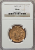 Indian Eagles: , 1910-S $10 XF40 NGC. NGC Census: (29/1378). PCGS Population(34/1539). Mintage: 811,000. Numismedia Wsl. Price for problem ...