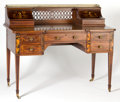 Furniture , AN EDWARDS & ROBERTS MAHOGANY AND SATINWOOD CARLTON HOUSE DESK WITH PICTORIAL INLAY . London, England, circa 1890. Marks: ...