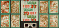 """Non-Sport Cards:Sets, 1953 Topps """"Tarzan's Savage Fury"""" 3D Complete Set (60) Plus Wrapper and Glasses...."""