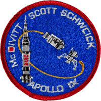 Apollo 9 Flown Embroidered Mission Insignia Patch Directly from the Personal Collection of Mission Lunar Module Pilot Ru...