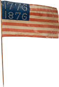 Political:Textile Display (pre-1896), 1876 Centennial: Large Flag on Original Stick....