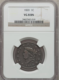 1820 1C Large Date VG8 Brown NGC. NGC Census: (4/989). PCGS Population (0/481). Mintage: 4,407,550. Numismedia Wsl. Pric...