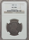 1807 1C Large Fraction AG3 Brown NGC. NGC Census: (0/50). PCGS Population (1/62). Mintage: 829,221. (#1516)...(PCGS# 151...