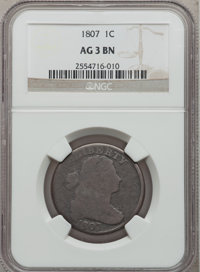 1807 1C Large Fraction AG3 Brown NGC. NGC Census: (0/50). PCGS Population (1/62). Mintage: 829,221. (#1516)