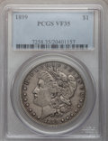 Morgan Dollars: , 1899 $1 VF35 PCGS. PCGS Population (23/10074). NGC Census:(7/7558). Mintage: 330,846. Numismedia Wsl. Price for problem fr...