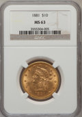 Liberty Eagles: , 1881 $10 MS63 NGC. NGC Census: (593/41). PCGS Population (249/18).Mintage: 3,877,260. Numismedia Wsl. Price for problem fr...