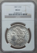 Morgan Dollars: , 1887-S $1 MS61 NGC. NGC Census: (520/3626). PCGS Population(411/5972). Mintage: 1,771,000. Numismedia Wsl. Price for probl...