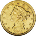 Liberty Half Eagles: , 1855-O $5 AU53 NGC. Rare in any grade, the 1855-O was only coinedto the extent of 11,100 pieces in pre-Civil War New Orlea...