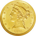 Liberty Half Eagles: , 1865-S $5 MS61 NGC. This attractive gold coin has a lovelypeach-gold and mint-green toning scheme, and the surfaces displa...