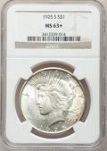 Peace Dollars: , 1925-S $1 MS63+ NGC. NGC Census: (1487/1629). PCGS Population(2393/1652). Mintage: 1,610,000. Numismedia Wsl. Price for pr...