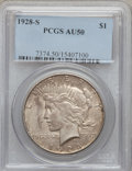 Peace Dollars: , 1928-S $1 AU50 PCGS. PCGS Population (124/5286). NGC Census:(82/3984). Mintage: 1,632,000. Numismedia Wsl. Price for probl...
