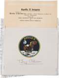Transportation:Space Exploration, Buzz Aldrin Signed Apollo 11 Beta Cloth Insignia Manufacturer'sSample....