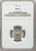Shield Nickels: , 1871 5C MS63 NGC. NGC Census: (9/45). PCGS Population (9/66).Mintage: 561,000. Numismedia Wsl. Price for problem free NGC/...