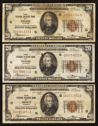 Fr. 1870-G $20 1929 Federal Reserve Bank Notes. Three Examples. Fine