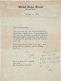 Autographs:Statesmen, Robert F. Kennedy:Twice-Signed 1966 TLS....
