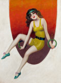 Pin-up and Glamour Art, ENOCH BOLLES (American, 1883-1976). Ann Pennington, Film Funmagazine cover, December 1929. Oil on canvas. 24 x 18 in.. ...