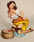 Pin-up and Glamour Art, GIL ELVGREN (American, 1914-1980). The Winner (A Fair Catch),Brown and Bigelow calendar illustration, 1957. Oil on canv...
