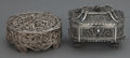Silver Holloware, Continental:Holloware, TWO RUSSIAN SILVER FILIGREE BOXES . Makers unknown, Russia, circa1880 . 4 inches long (10.2 cm) (longer). 13.3 troy ounces...(Total: 2 Items)