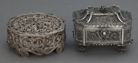 TWO RUSSIAN SILVER FILIGREE BOXES Makers unknown, Russia, circa 1880 4 inches long (10.2 cm) (longer) 13.3