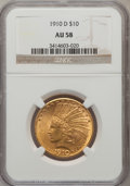 Indian Eagles: , 1910-D $10 AU58 NGC. NGC Census: (962/9509). PCGS Population(1105/6733). Mintage: 2,356,640. Numismedia Wsl. Price for pro...