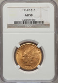 Indian Eagles: , 1914-D $10 AU58 NGC. NGC Census: (515/1806). PCGS Population(457/1447). Mintage: 343,500. Numismedia Wsl. Price for proble...