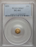 California Fractional Gold: , 1859 25C Liberty Round 25 Cents, BG-801, R.3, MS63 PCGS. PCGSPopulation (33/51). NGC Census: (7/35). (#10662)...