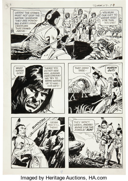 Jack Sparling Turok Son Of Stone 117 Page 9 Original Art Gold Lot 11609 Heritage Auctions