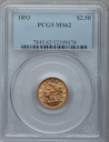 Liberty Quarter Eagles: , 1893 $2 1/2 MS62 PCGS. PCGS Population (170/354). NGC Census: (245/361). Mintage: 30,000. Numismedia Wsl. Price for problem...