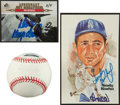 Baseball Collectibles:Others, Sandy Koufax and Don Drysdale Signed Memorabilia Lot of 3....
