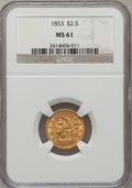 Liberty Quarter Eagles: , 1853 $2 1/2 MS61 NGC. NGC Census: (233/524). PCGS Population(57/337). Mintage: 1,404,668. Numismedia Wsl. Price for proble...