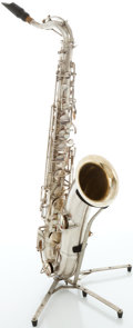 Musical Instruments:Horns & Wind Instruments, Circa 1924 Holton Silver Tenor Saxophone, Serial #18026....