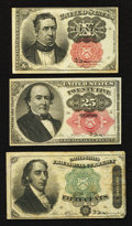 Fractional Currency:Fifth Issue, 10¢ and 25¢ Fifth Issue and 50¢ Fourth Issue Fractionals.. ...(Total: 3 notes)