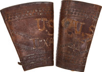Brown Tooled Leather Cuffs