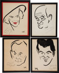 Movie/TV Memorabilia:Memorabilia, A Collection of Signed Caricatures from The Brown Derby Restaurant,1940s.... (Total: 4 Items)