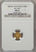 California Fractional Gold: , 1880/70 50C Indian Round 50 Cents, BG-1067, Low R.4, MS61 NGC. NGCCensus: (2/1). PCGS Population (10/78). (#10896)...
