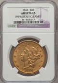 Liberty Double Eagles: , 1864 $20 -- Improperly Cleaned -- NGC Details. AU. NGC Census:(33/150). PCGS Population (37/100). Mintage: 204,285. Numism...
