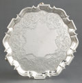 Silver Holloware, British:Holloware, AN EDWARD LOTHIAN SCOTTISH GEORGE II SILVER SALVER . EdwardLothian, Edinburgh, Scotland, circa 1740-1741. Marks: (castle), ...